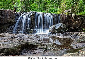 тропический, водопад, лес, дождь
