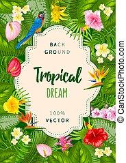 тропический, лето, дизайн, задний план