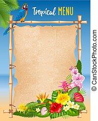 тропический, лето, рамка, дизайн