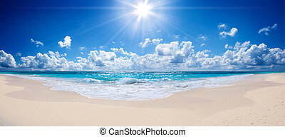 тропический, пляж, -, пейзаж, море