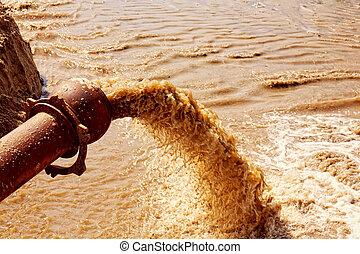 труба, река, сточные воды, flowing