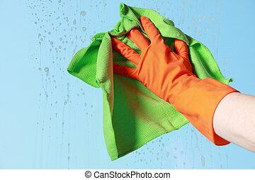 тряпка, окно, gloved, уборка, рука