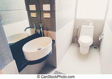 туалет, в, , ванная комната, (vintage, фильтр, эффект, used)