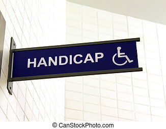 туалет, знак, для, гандикап