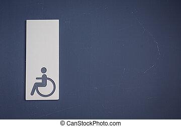 туалет, effect., ), (, инвалидная коляска, знаки, или, гандикап, обработанный, марочный, отфильтрованный, образ