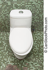 туалет, tiles, стена, ванная комната, чистый, зеленый, белый, мозаика