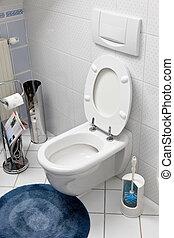 туалет, with, an, открытый, туалет, сиденье