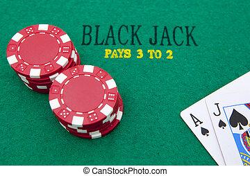 туз, of, spades, and, блэк джек, with, красный, покер, чипсы, в, , background.