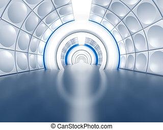туннель, футуристический, как, коридор, космический корабль