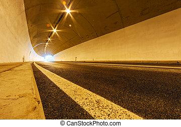 туннель, with, lights