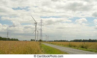 турбина, зеленый, энергия, ветер