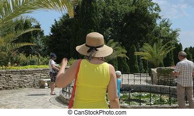 турист, ботанический, группа, сад