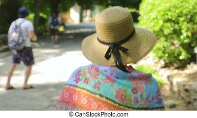 турист, группа, сад, ботанический