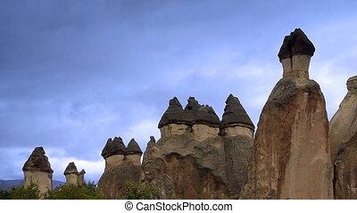 турция, природа, чудо, 2, cappadocia, фея, день отдыха, туризм, дымовая труба