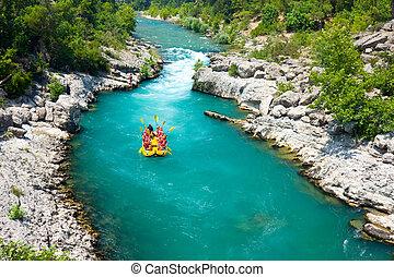 турция, рафтинг, каньон, зеленый, alanya