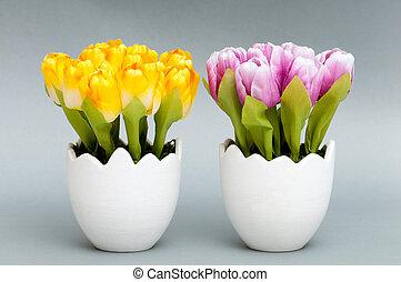 тюльпан, горшок, цветы, белый, красочный