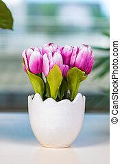 тюльпан, горшок, цветы, цветок