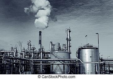 тяжелый, завод, монтаж, промышленность