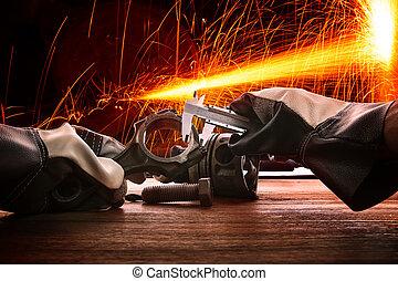 тяжелый, использование, промышленные, за работой, огонь, металл, splashing, работник, завод, перчатка, рука, кожа, тема, защита, железо, производство, высокая температура, промышленность, человек