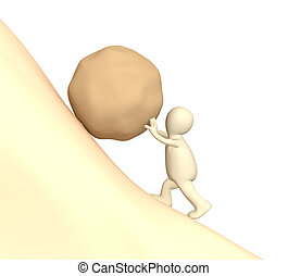 тяжелый, камень, pushing, кукольный, 3d