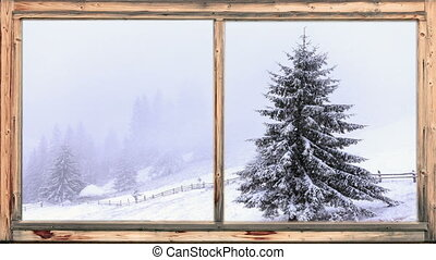 тяжелый, лесистый, снег, falling, площадь