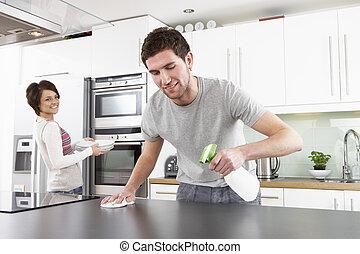 уборка, пара, современное, молодой, кухня