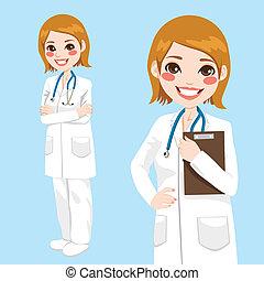 уверенная в себе, женщина, врач