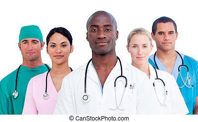 уверенная в себе, медицинская, команда, портрет
