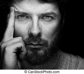 уверенная в себе, bearded, человек, красивый, лицо