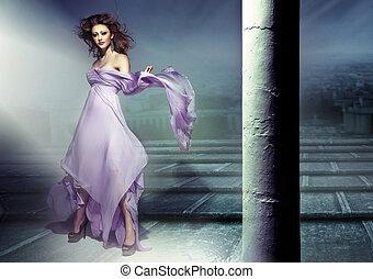 удивительно, картина, of, чувственный, брюнетка, носить, сирень, платье