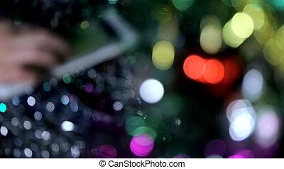 украшение, марочный, дерево, рождество