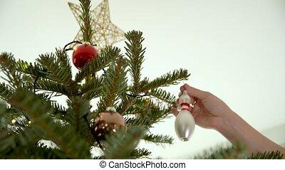 украшение, стакан, рождество, конус, боулинг, дерево