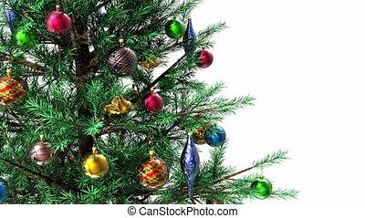 украшен, вращающийся, рождество, дерево