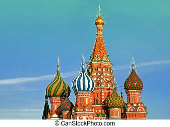 улица, бэзил, кафедральный собор, в, moscow., russia.