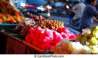 улица, экзотический, видео, market., fruits, азиатский, продажа