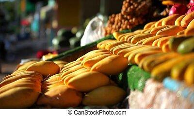 улица, экзотический, market., fruits, hd, азиатский, продажа