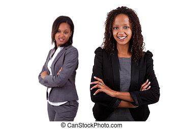улыбается, африканец, американская, бизнес, женщина