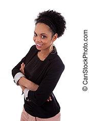 улыбается, африканец, американская, женщина, with, folded, arms