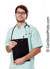 улыбается, врач