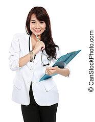 улыбается, женский пол, врач
