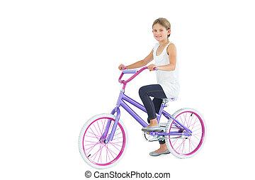 улыбается, милый, молодой, девушка, верховая езда, велосипед