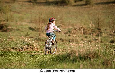 улыбается, немного, девушка, верховая езда, байк, turned, далеко