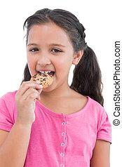 улыбается, немного, девушка, принимать пищу, , печенье