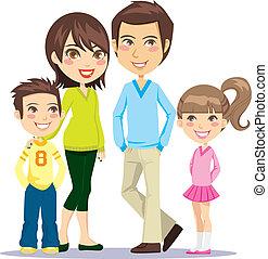 улыбается, семья, счастливый