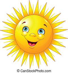 улыбается, солнце