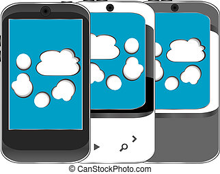 умная, телефон, задавать, with, облако, вычисления, символ, на, , экран