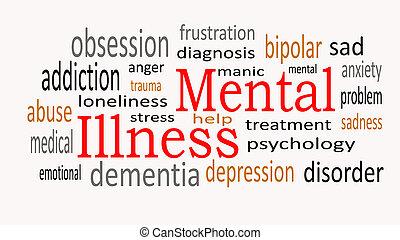 умственный, болезнь, слово, облако, концепция, на, белый, background.