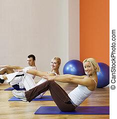 упражнение, люди, фитнес, группа