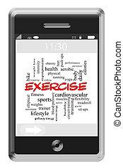 упражнение, слово, облако, концепция, на, сенсорный экран, телефон