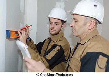 уровень, checking, workers, стена, indoors, строительство